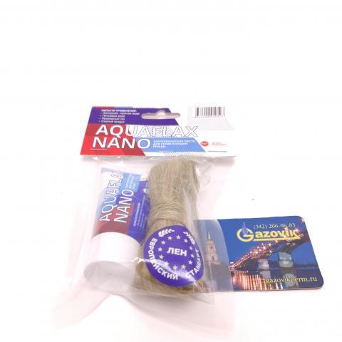 Сантехническая паста для герметизации резьбы AQUAFLAX NANO 30 г.+лен 15г