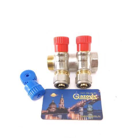 Коллектор отопления RVC 3/4 * 1/2 регулируемый 2 крана