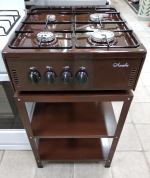 Плита газовая настольная Лысьва ПГН 41 М - коричневая, со стеллажом