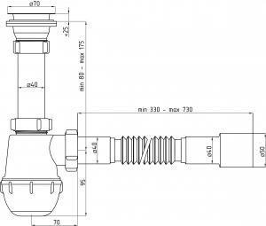 Сифон для раковины с гибкой подводкой, А 0115